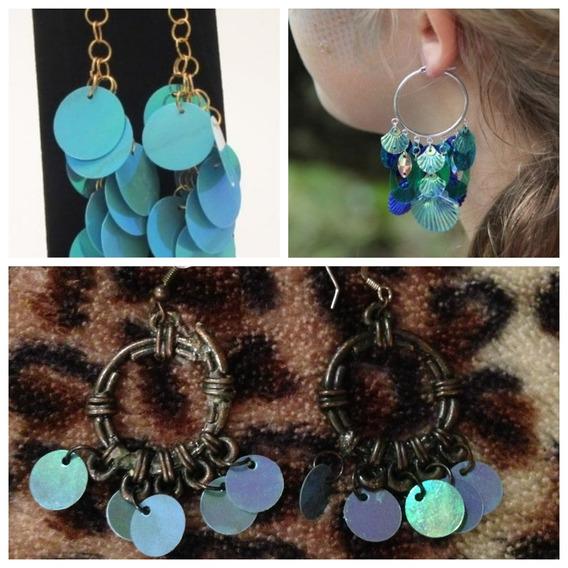 Aros Colgantes Marron Con Lentejuelas Azules Para Mujer