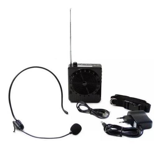 Megafone Amplificador Voz Microfone Professor Radio Fm Usb M