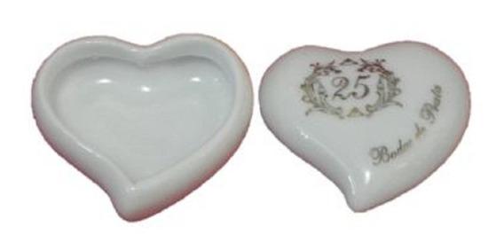 Pac. 50 Lembranças Porcelana Porta Joias Coração Bodas Prata