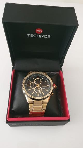 Relógio Technos Masculino Dourado Skymaster Os10fa/4p