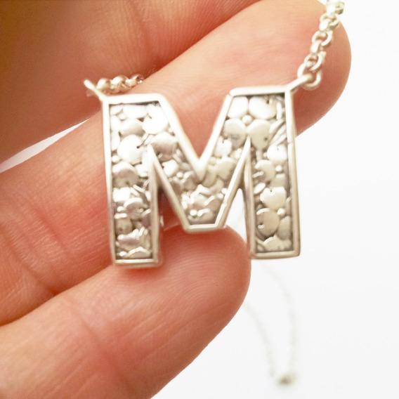 Collar Letra Inicial M De 46.5cm Plata Sólida 925 (sterling)