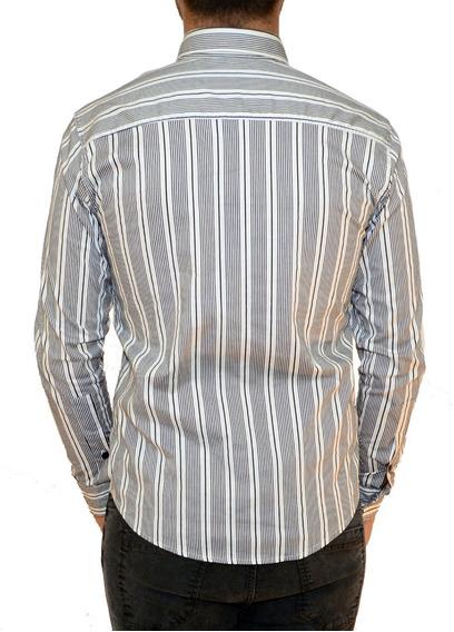 Camisa De Hombre A Rayas Moda Manga Larga Romana