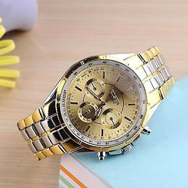 Relógio Masculino Pulso Quartz Aço Inoxidável Dourado