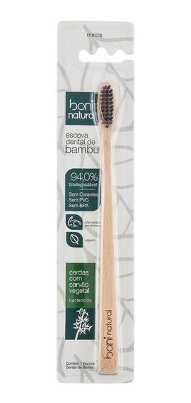 Escova Dental Natural De Bambu Com Cerdas De Carvão Vegetal Boni Natural