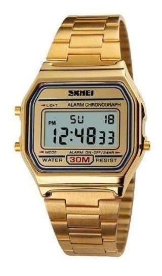 Relógio Feminino Skmei Digital 1123 Dourado Original Vintage