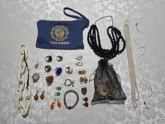 Coleção De 33 Peças De Bijus Com Estojo, Sacolas E Caixa
