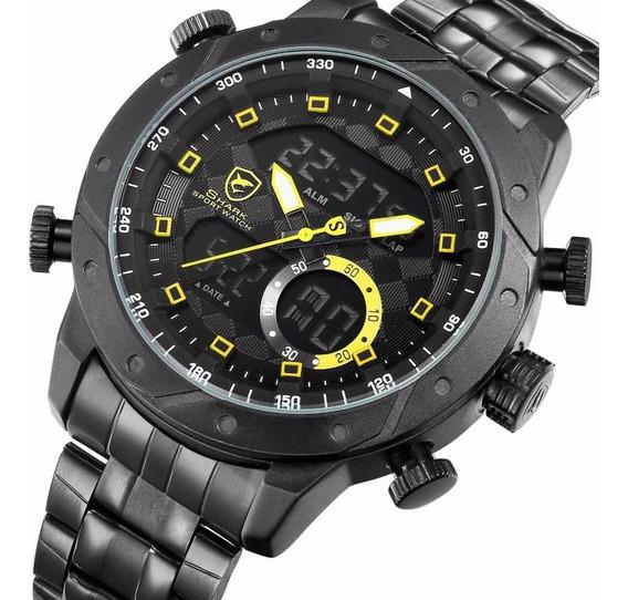 Relógio Masculino Shark Anadigi Sh-594 - Preto E Amarelo