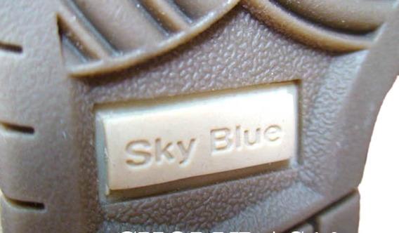 Botas Borcegos Sky Blue Negro En Canvas Estilo Gastado 36