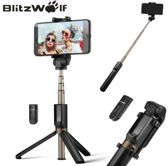 Pau De Selfie Com Tripé E Disparador Bluetooth Blitz Wolf