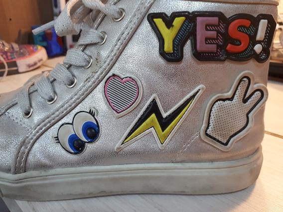 Zapatillas Botitas Justice Plateadas Talle Us 5 Hermosas!!!!