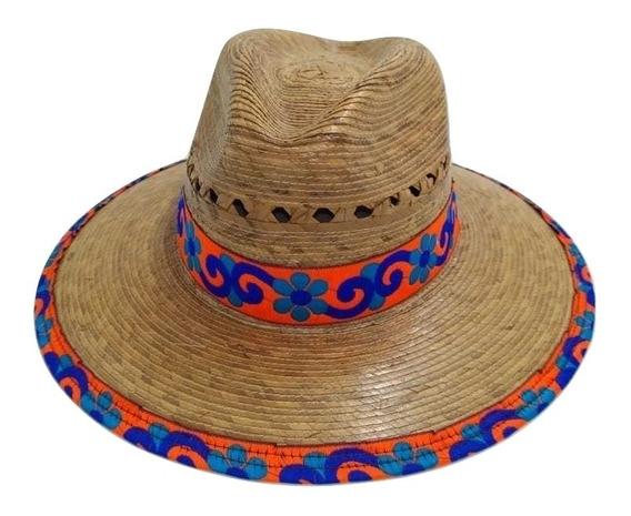 Set 3 Sombreros Artesanal Palma Con Bordado Para Dama