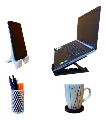 Imagen 1 de 8 de Home Office Stand Laptop + Stand Celular + Accesorios