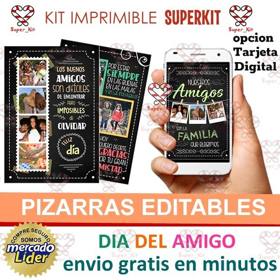 Kit Imprimible Dia Del Amigo Pizarras Cuadritos Y Virtual