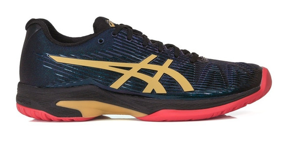 Tênis Asics Gel Solution Speed Ff L.e Preto E Dourado