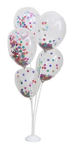 Suporte Para Balão Kit Arranjo 5 Hastes 45 Cm Branco