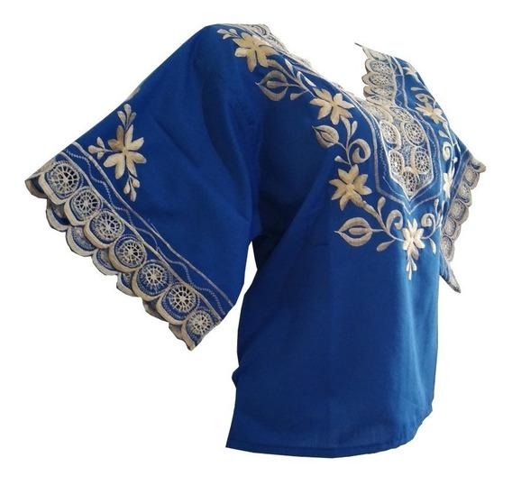 Blusa Araña Azul Electrico Algodon 100% Hecho En Yucatan