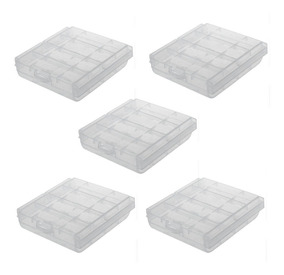 5 X Cases Para 4 Porta Pilhas Aa Ou Aaa Transparente
