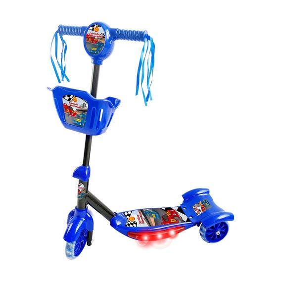Patinete Infantil Crianca Musical Luz Cesta Scooter Azul