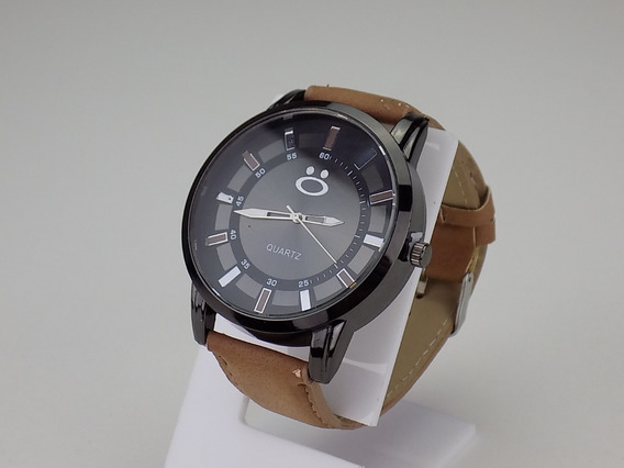 Relógio Masculino Original Pulseira Couro Marrom Top