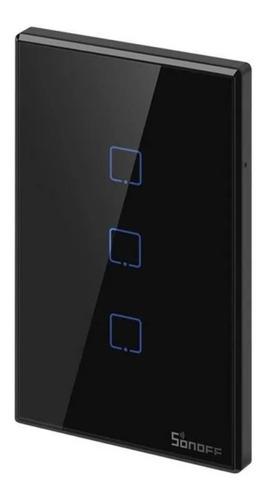Sonoff Switch T 3 Botones Inteligente Color Negro