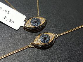 Conjunto Olho Grego Ouro 18k - Pingente + Colar + Pulseira