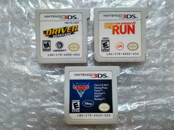 Need For Speed Run + Driver Renegade + Cars 2 Para 3ds.
