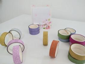 Kit 10 Washi Tape Glitter + 2 Post It Sakura