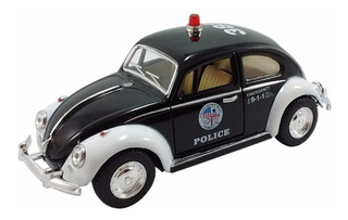 Carrinho De Ferro Miniatura Brinquedo Coleçao Fusca Policia