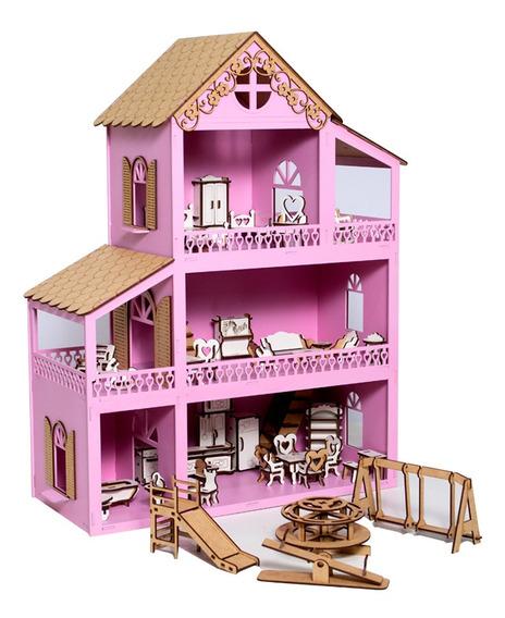 Casa Casinha De Boneca Rosa Mdf + 36 Móveis + Parquinho