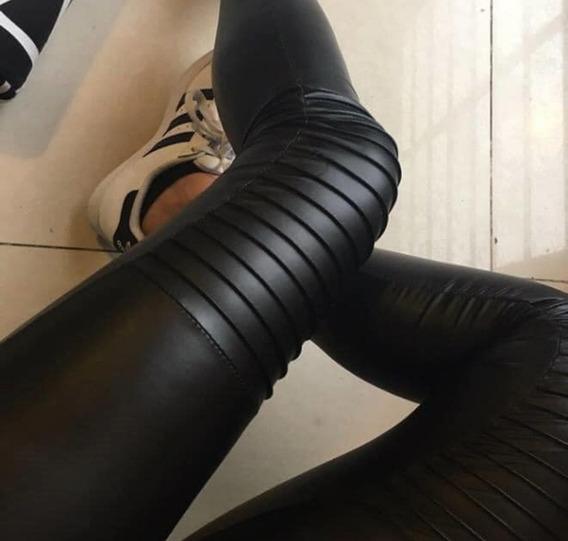 Leggings Calza Cuero Engomada Con Pinzas Alforzas