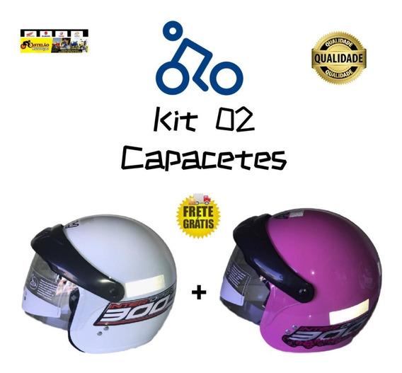 Kit 02 Capacetes Gow Aberto Com Viseira Rosa E Branco