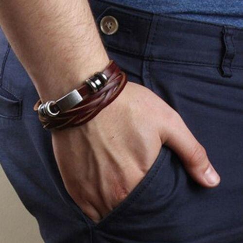 Pulseira Bracelete Masculino Couro Sintético Com Detalhes