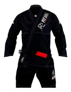Kimono Jiu-jitsu Pit Bull Competidor - Preto