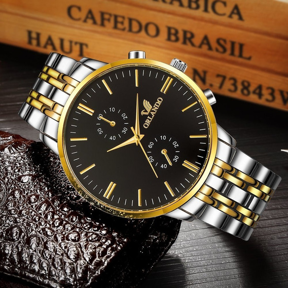 Relógio Masculino Luxo Dourado Luxo Top De Linha Muito Boni