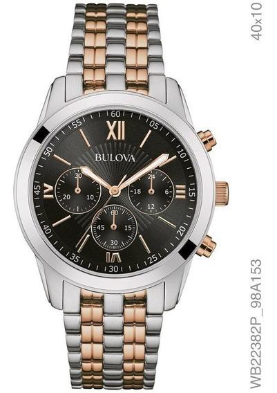 Relógio Bulova Feminino Prata E Rosé Wb22382p