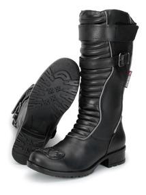 Bota Feminina Motociclistas Em Couro Atron Shoes Conforto