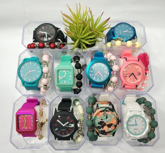 Relógios No Atacado Para Revenda Kit 10 Und. + Pulseiras +cx