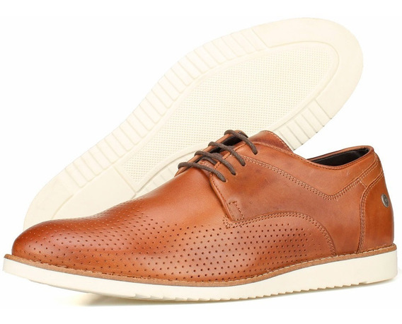 Sapato Social Casual Masculino Solado Branco Oxford Brogue Derby Em Couro Perlatto