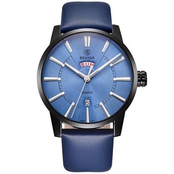 Relógio Masculino Benyar By-5101-1m13 Couro Azul
