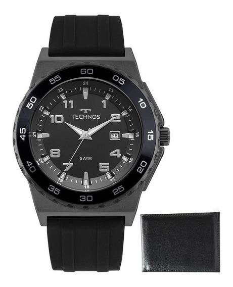 Relógio Technos Masculino Borracha + Carteira De Brinde