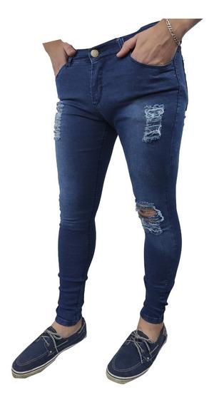 Jean Hombre Elastizado Chupin Azul Roturas Slim Pantalón