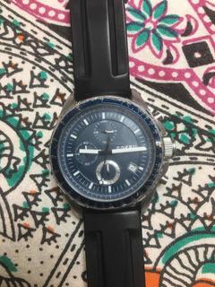 Relógio Fóssil Fundo Azul Pulseira Borracha 45mm Ch 2691