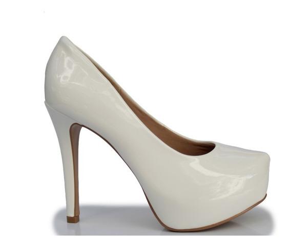 Sapato Casamento Branco Scarpin Meia Pata Verniz R 65