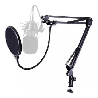 Pedestal Suporte Articulado Microfone Braço Mesa+ Pop Filter