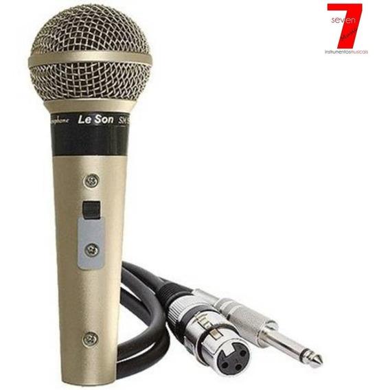 Microfone De Mão Dinâmico Leson Sm-58 P4 + Cabo (original)