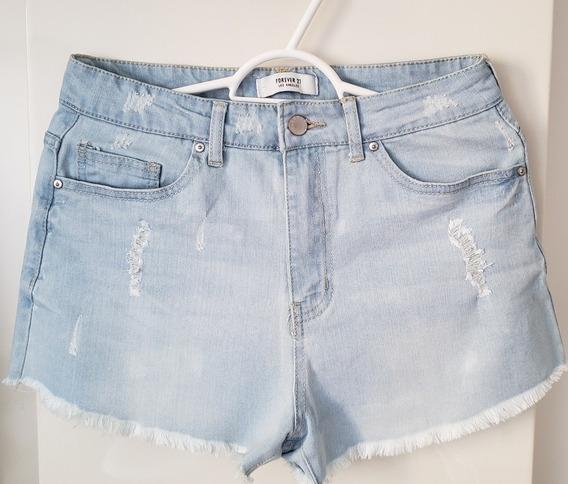 Short Jeans Feminino Azul Forever 21 Tamanho 36 Original