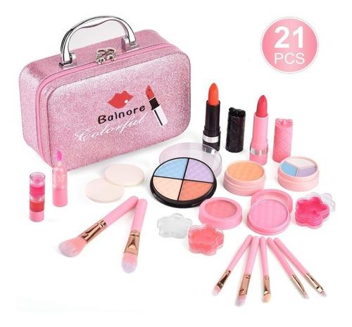 Set De Maquillaje Real Para Niñas Lavable, 21 Pcs En Maleta