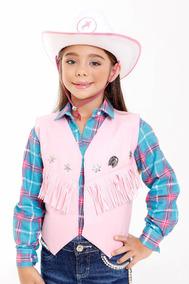Colete Cowboy Cowgirl Menina Rosa - Kit Colete E Chapeu