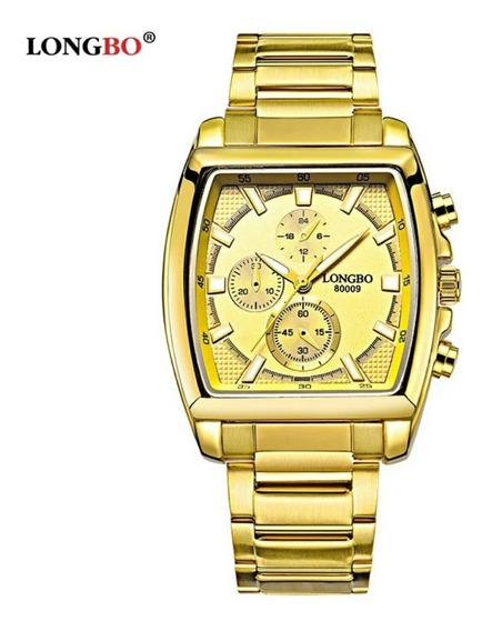 Relógio Masculino Longbo Quadrado Aço Inox Promoção Barato