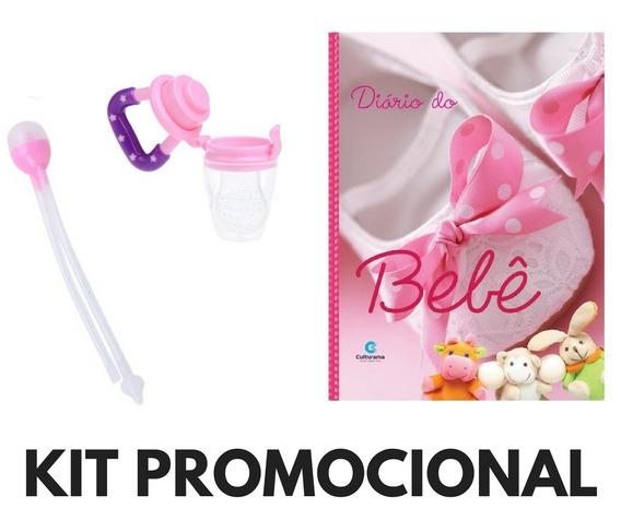 Kit Promoção Sugador Nasal +diário Do Bebê+ Chupeta Menina
